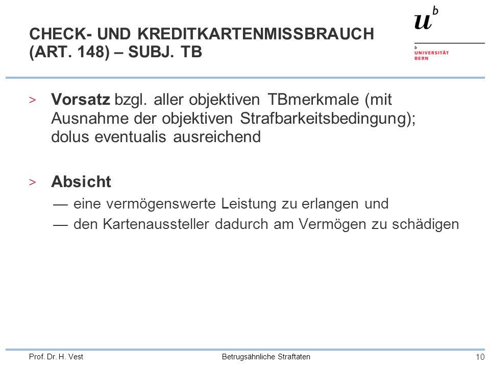CHECK- UND KREDITKARTENMISSBRAUCH (ART. 148) – SUBJ. TB