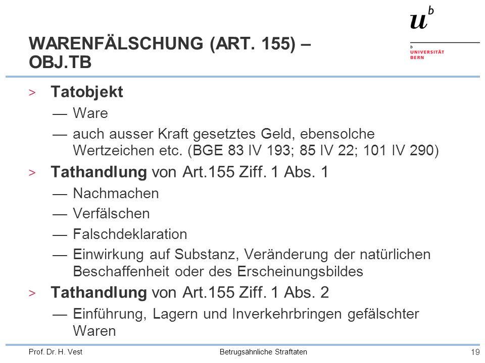 WARENFÄLSCHUNG (ART. 155) – OBJ.TB
