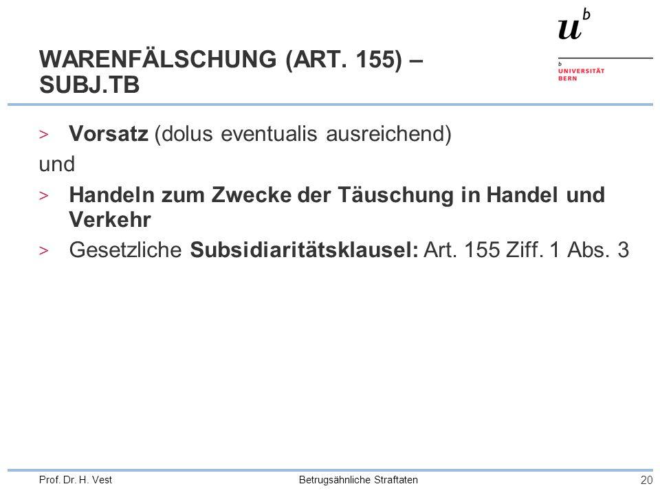 WARENFÄLSCHUNG (ART. 155) – SUBJ.TB