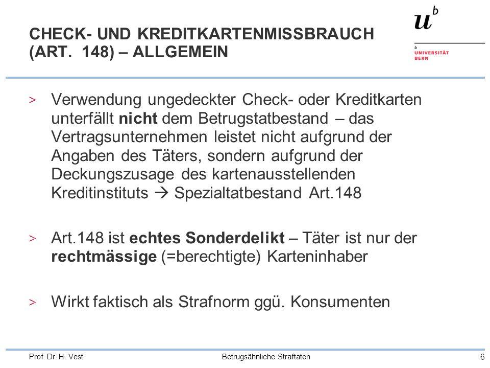 CHECK- UND KREDITKARTENMISSBRAUCH (ART. 148) – ALLGEMEIN