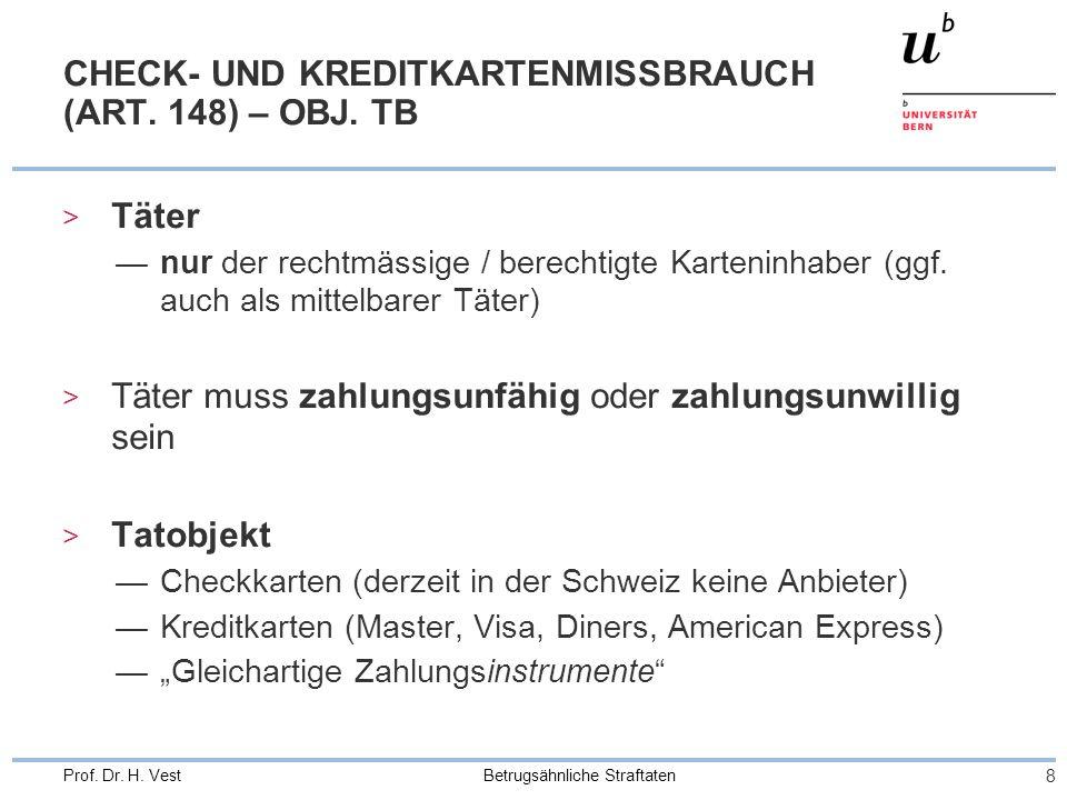 CHECK- UND KREDITKARTENMISSBRAUCH (ART. 148) – OBJ. TB