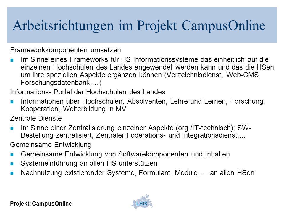 Arbeitsrichtungen im Projekt CampusOnline
