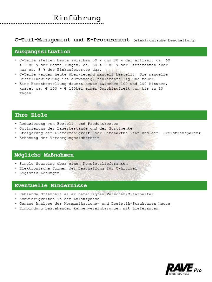 Einführung C-Teil-Management und E-Procurement (elektronische Beschaffung) Ausgangssituation.