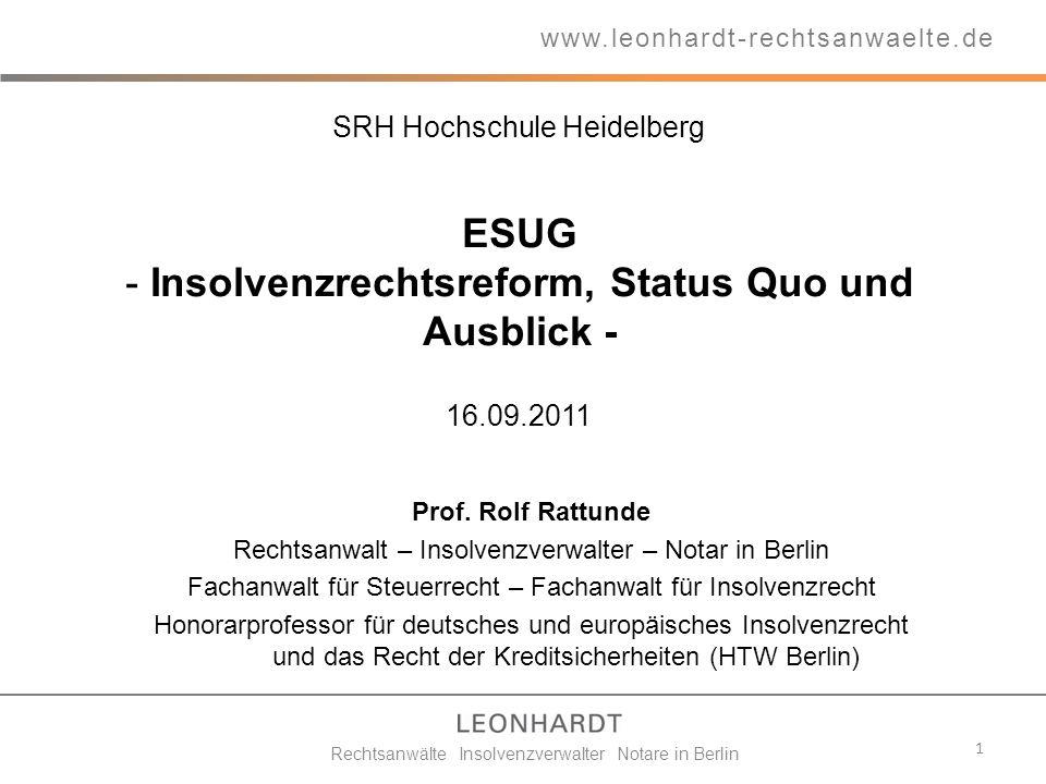 Insolvenzrechtsreform, Status Quo und Ausblick -