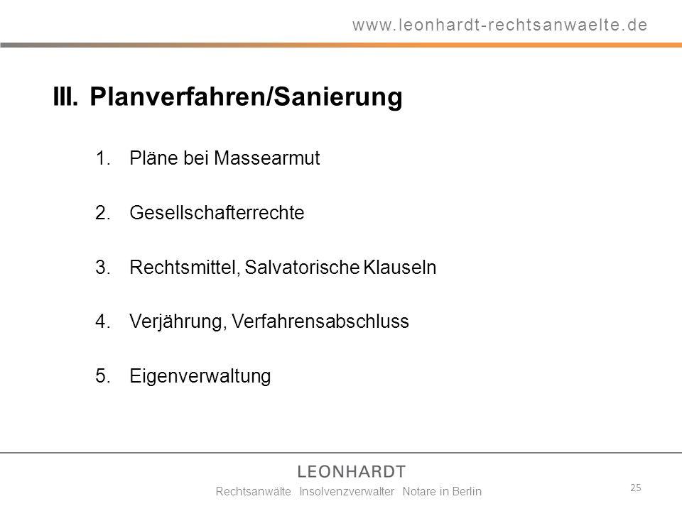 III. Planverfahren/Sanierung