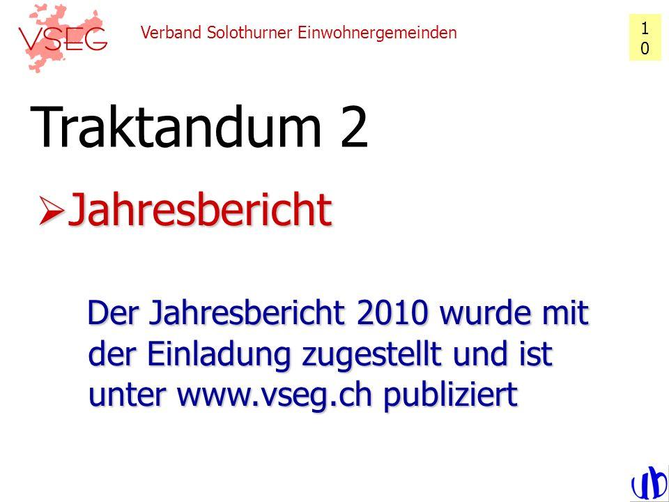 1010 Verband Solothurner Einwohnergemeinden. Traktandum 2.