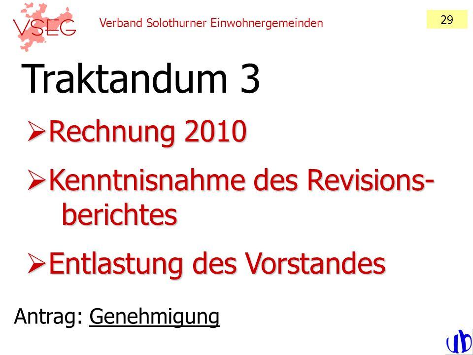 Traktandum 3 Rechnung 2010 Kenntnisnahme des Revisions- berichtes