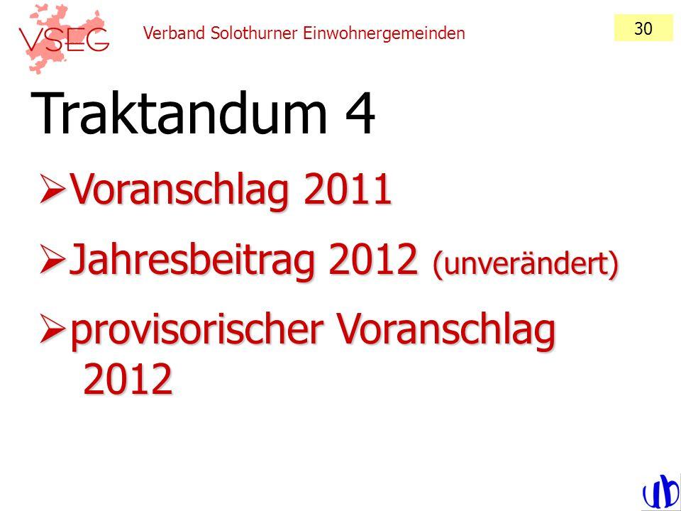 Traktandum 4 Voranschlag 2011 Jahresbeitrag 2012 (unverändert)
