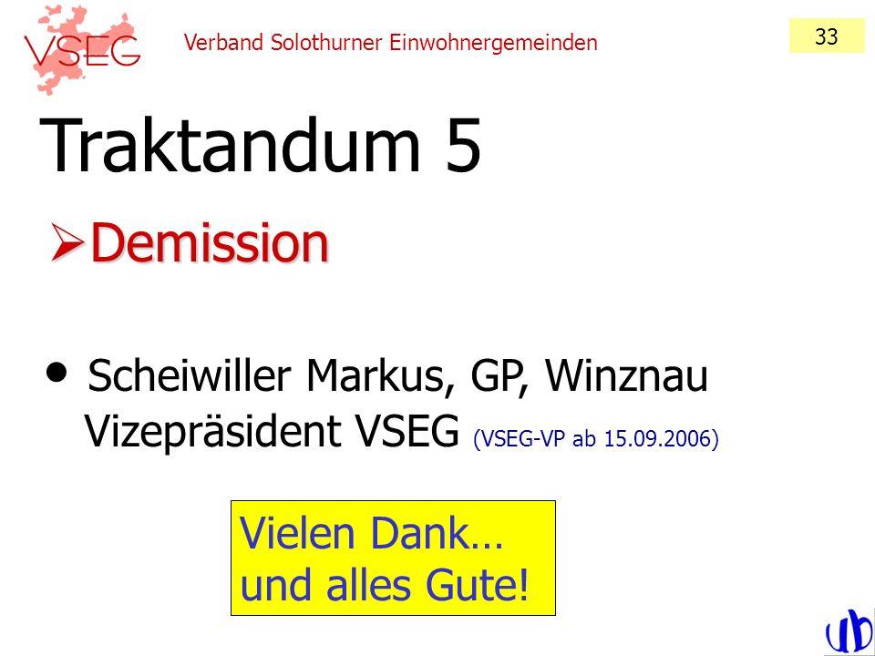 33Verband Solothurner Einwohnergemeinden. Traktandum 5. Demission. Scheiwiller Markus, GP, Winznau Vizepräsident VSEG (VSEG-VP ab 15.09.2006)