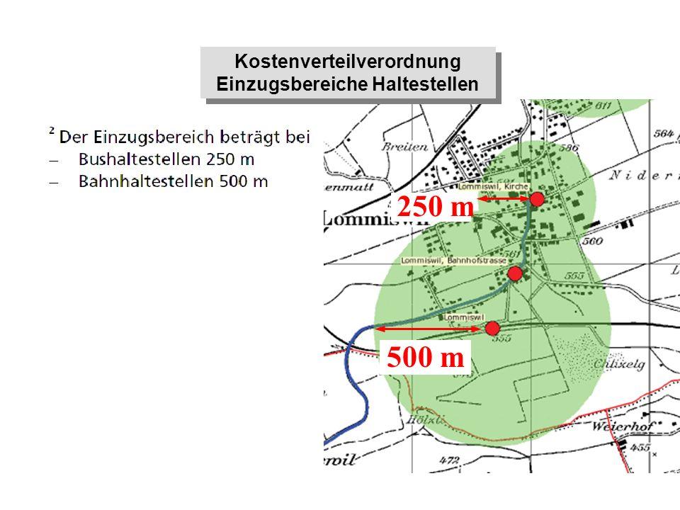 Kostenverteilverordnung Einzugsbereiche Haltestellen