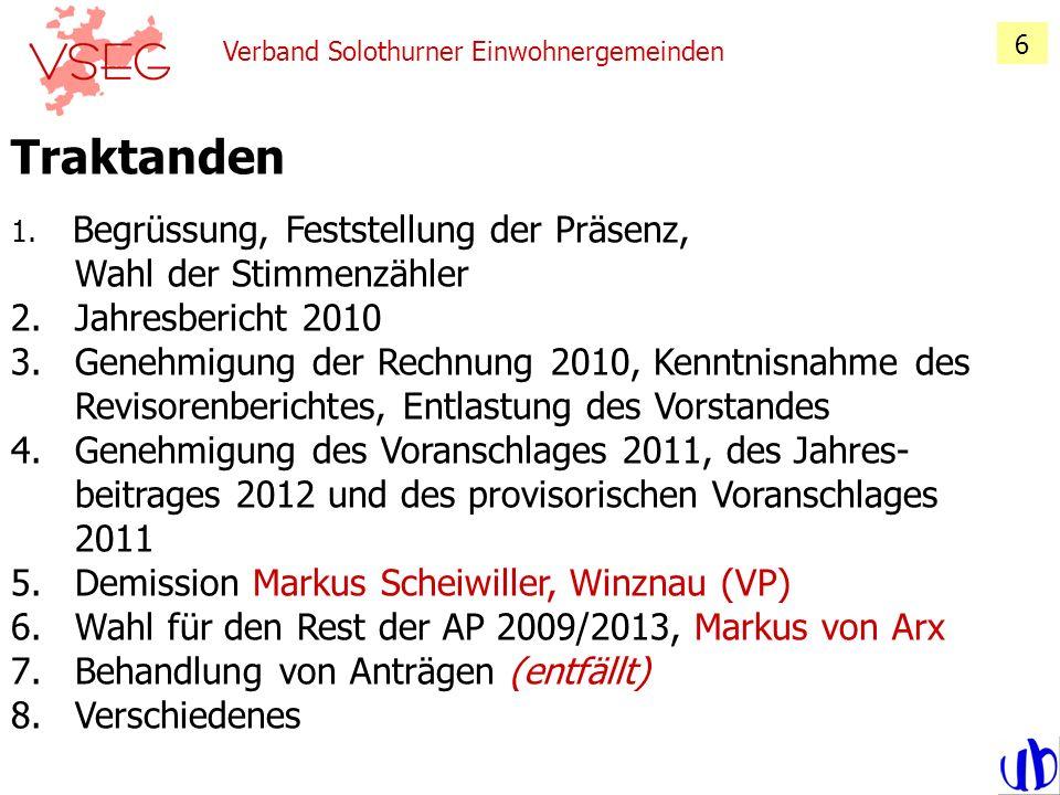 Traktanden Jahresbericht 2010