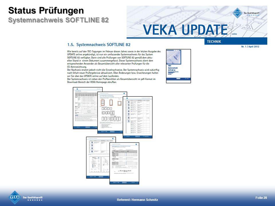 Status Prüfungen Systemnachweis SOFTLINE 82