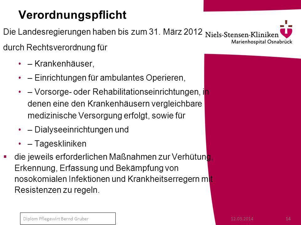 Verordnungspflicht Die Landesregierungen haben bis zum 31. März 2012
