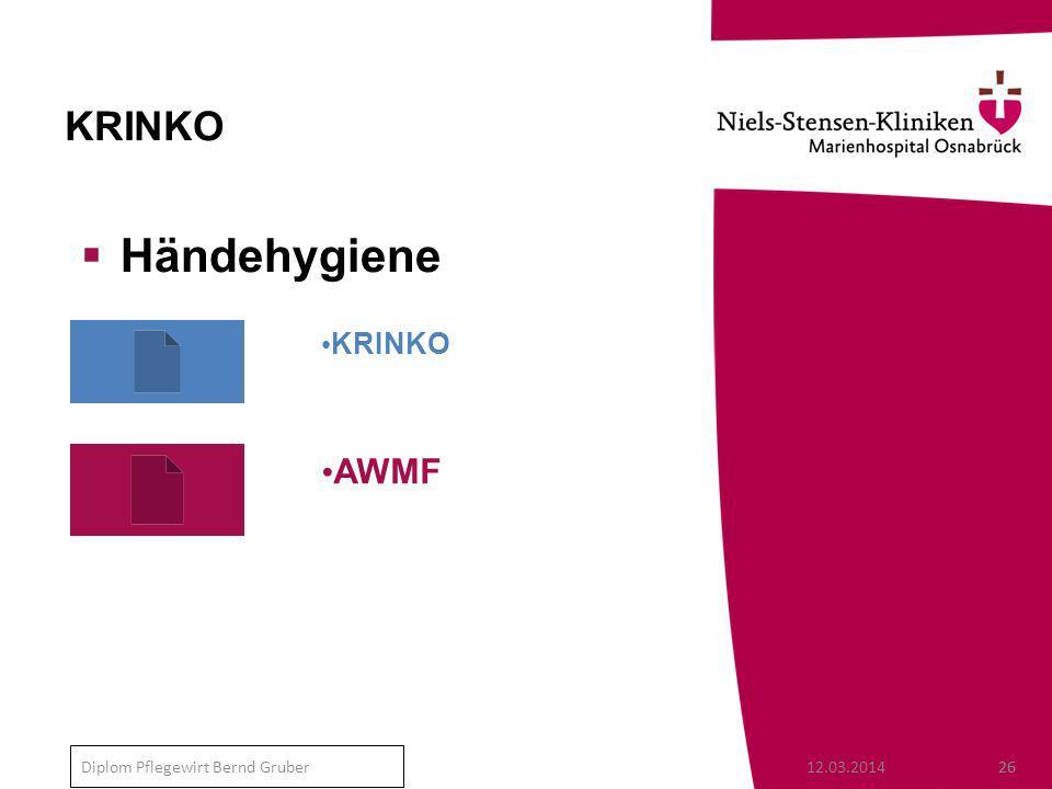 KRINKO Händehygiene KRINKO AWMF Diplom Pflegewirt Bernd Gruber
