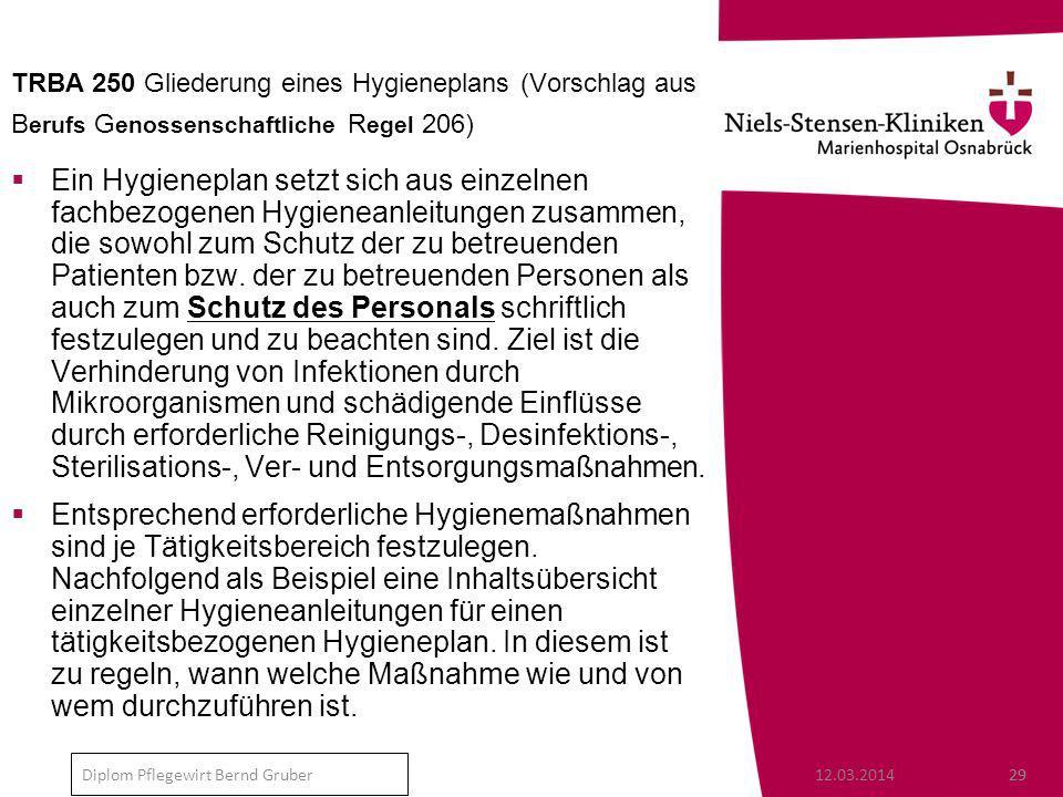 TRBA 250 Gliederung eines Hygieneplans (Vorschlag aus Berufs Genossenschaftliche Regel 206)