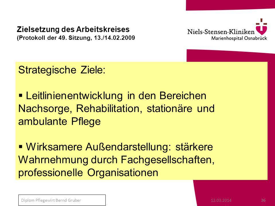 Zielsetzung des Arbeitskreises (Protokoll der 49. Sitzung, 13. /14. 02