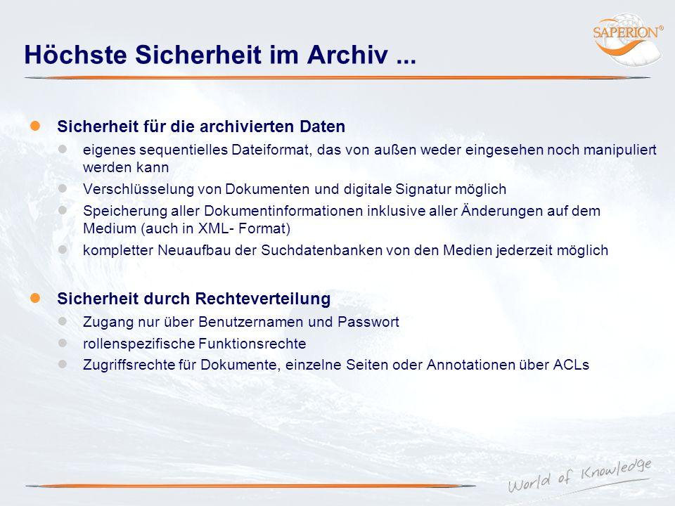 Höchste Sicherheit im Archiv ...