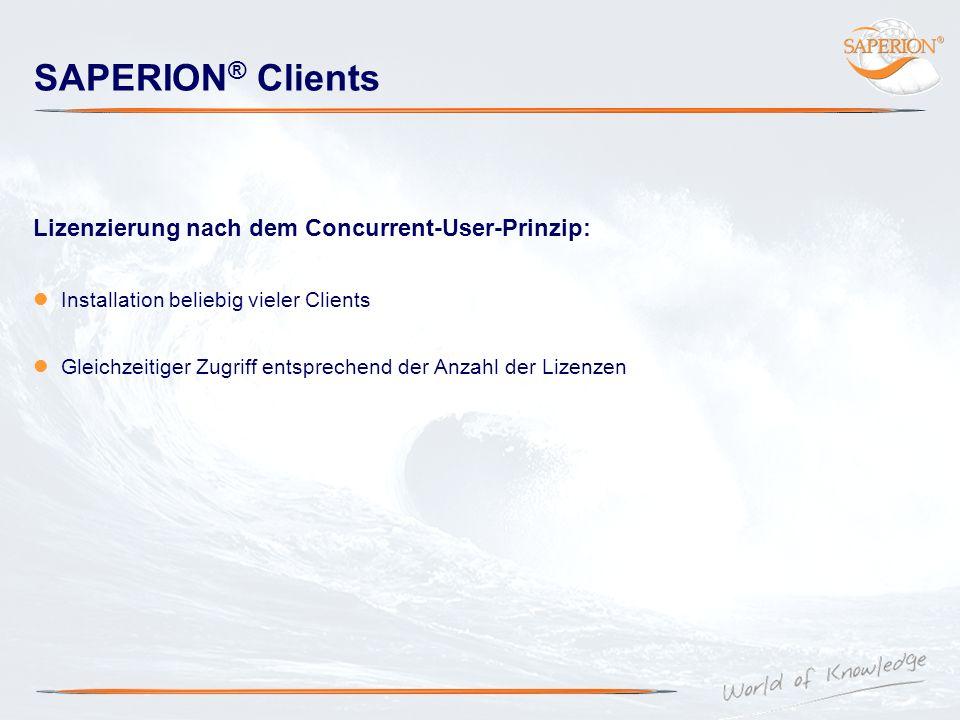 SAPERION® Clients Lizenzierung nach dem Concurrent-User-Prinzip: