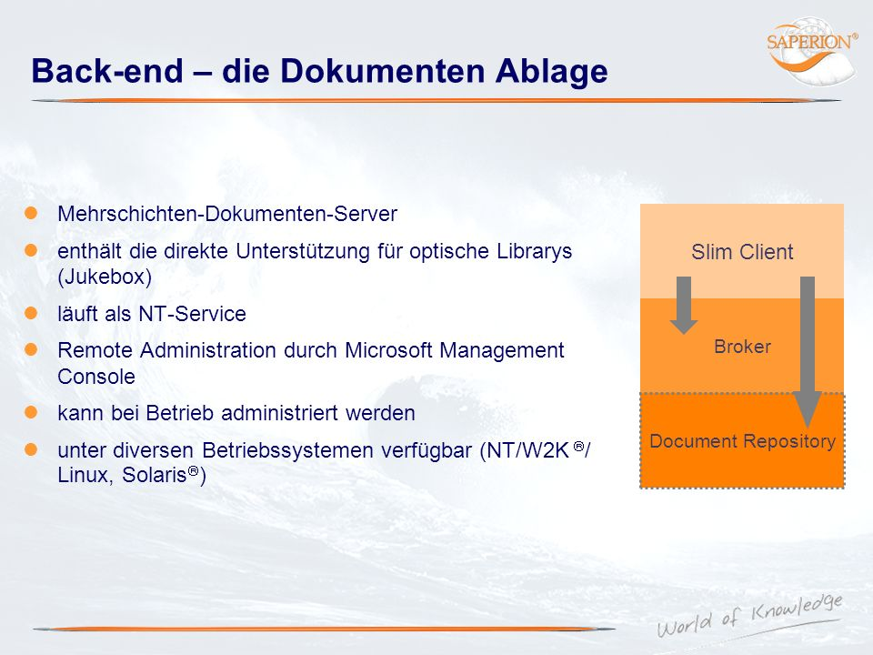 Back-end – die Dokumenten Ablage