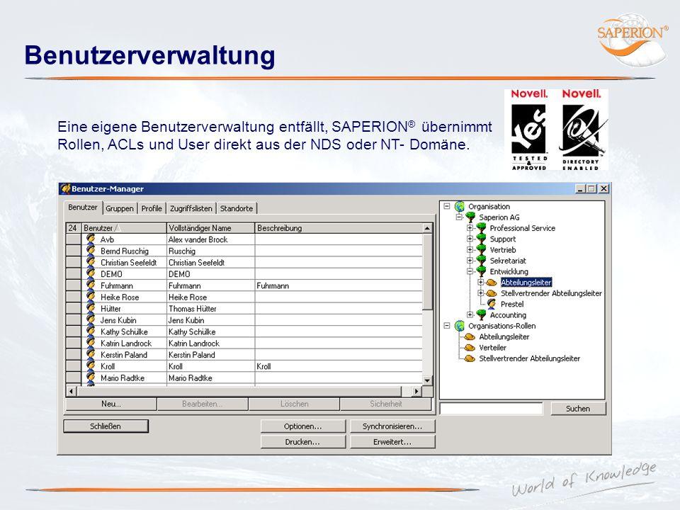 Benutzerverwaltung Eine eigene Benutzerverwaltung entfällt, SAPERION® übernimmt Rollen, ACLs und User direkt aus der NDS oder NT- Domäne.