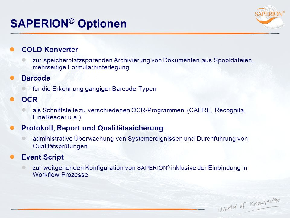 SAPERION® Optionen COLD Konverter Barcode OCR