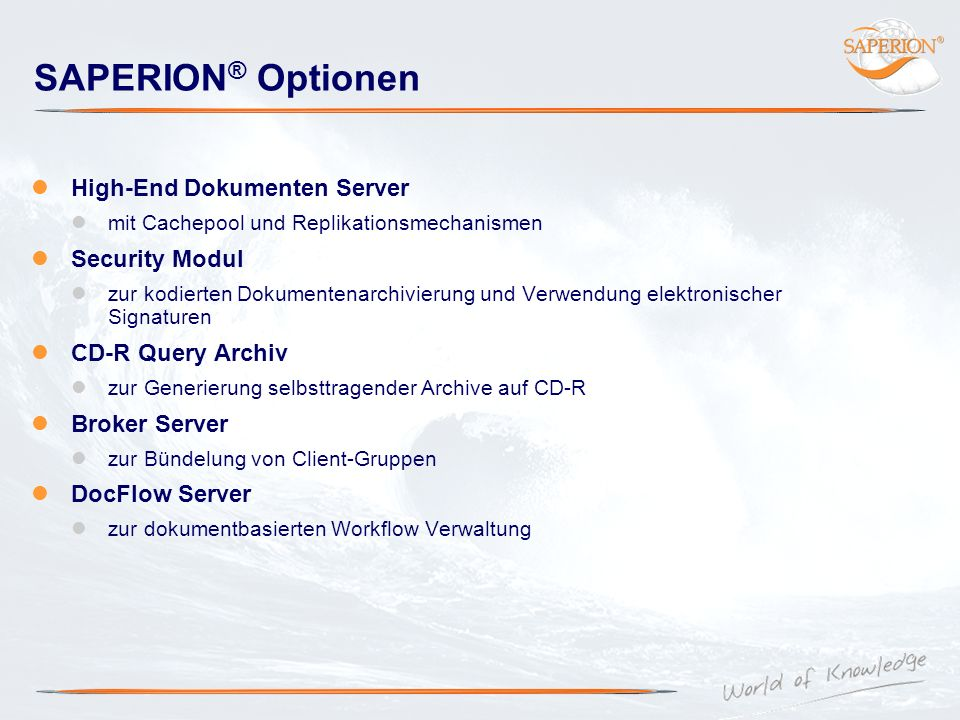 SAPERION® Optionen High-End Dokumenten Server Security Modul