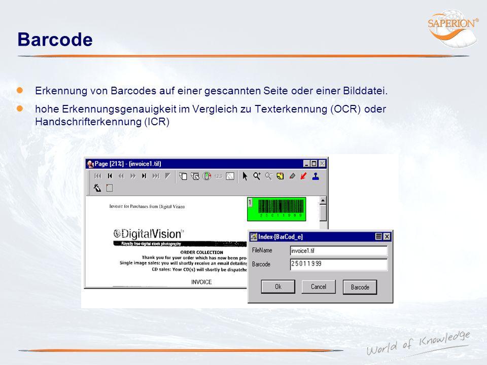 Barcode Erkennung von Barcodes auf einer gescannten Seite oder einer Bilddatei.