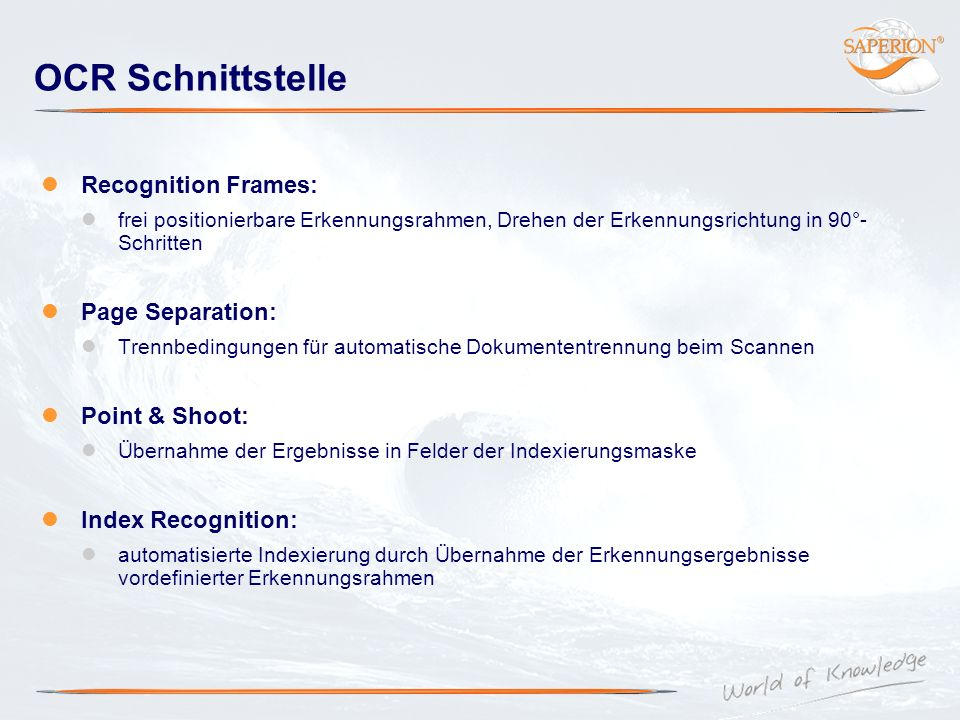 OCR Schnittstelle Recognition Frames: Page Separation: Point & Shoot:
