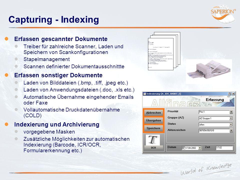 Capturing - Indexing Erfassen gescannter Dokumente