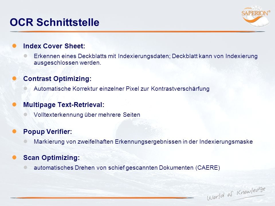 OCR Schnittstelle Index Cover Sheet: Contrast Optimizing: