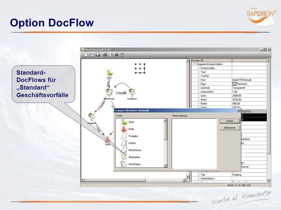 """Option DocFlow Standard- DocFlows für """"Standard Geschäftsvorfälle"""