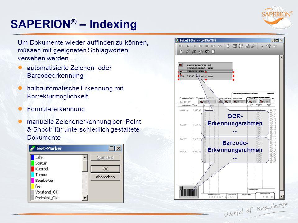 Barcode-Erkennungsrahmen ... OCR-Erkennungsrahmen ...