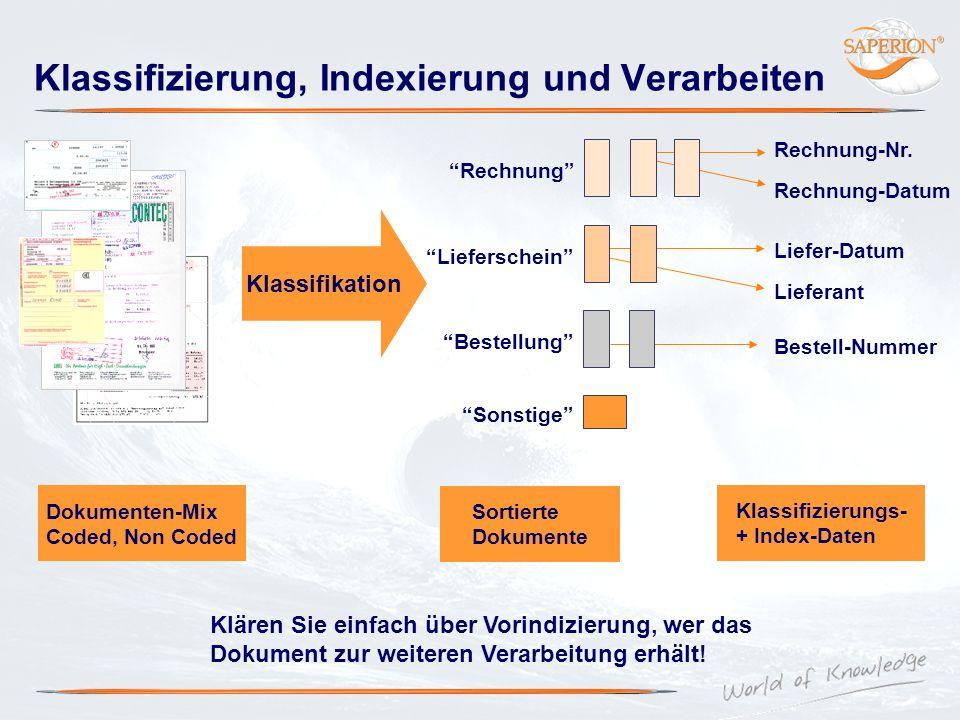 Klassifizierung, Indexierung und Verarbeiten