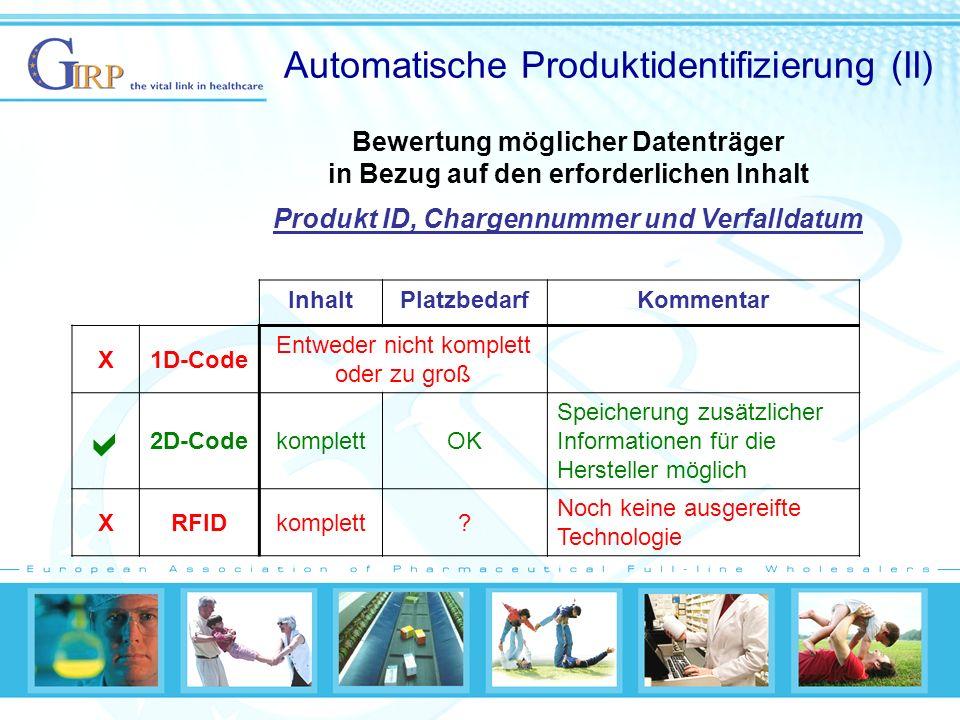 Automatische Produktidentifizierung (II)