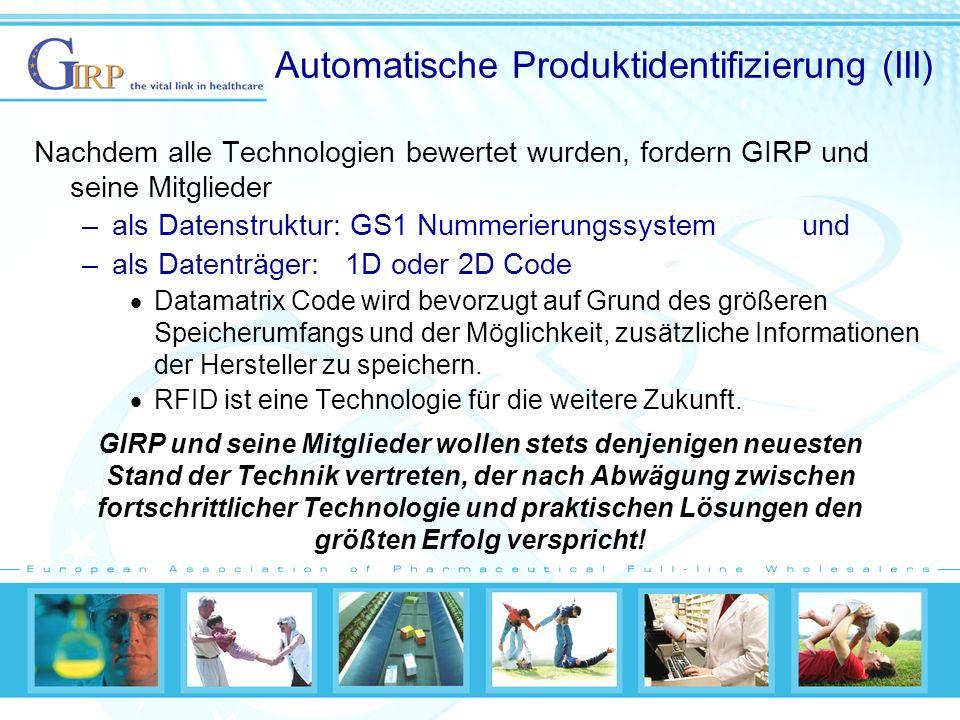 Automatische Produktidentifizierung (III)