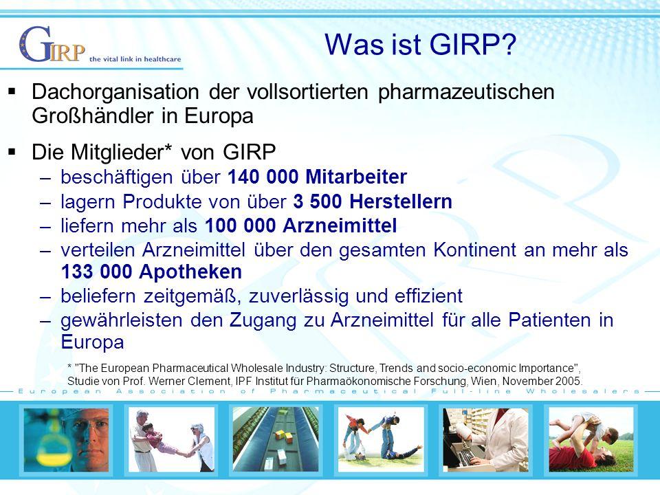 Was ist GIRP Dachorganisation der vollsortierten pharmazeutischen Großhändler in Europa. Die Mitglieder* von GIRP.