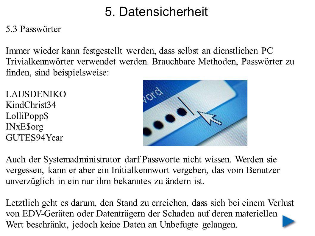 5. Datensicherheit 5.3 Passwörter