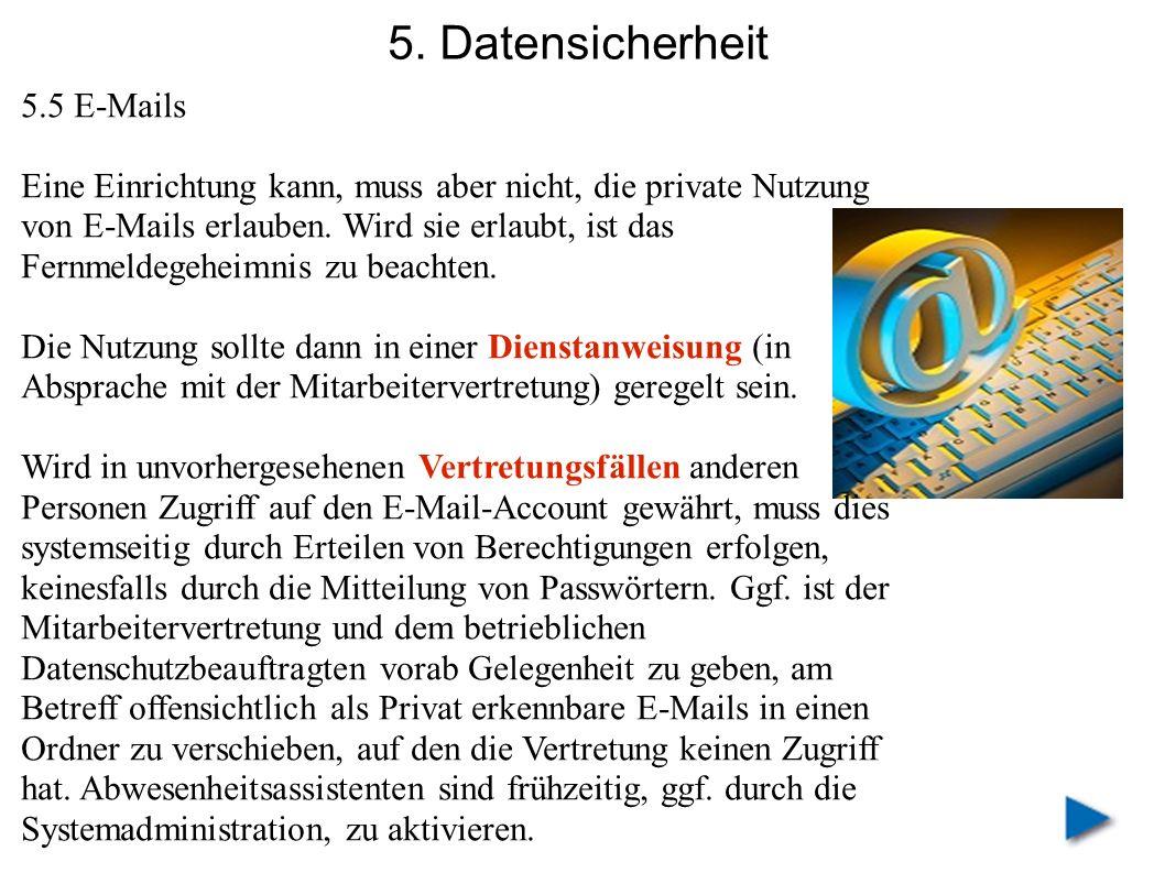5. Datensicherheit 5.5 E-Mails