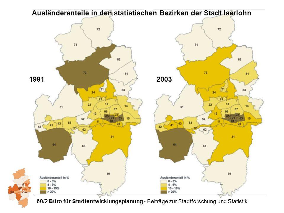 Ausländeranteile in den statistischen Bezirken der Stadt Iserlohn