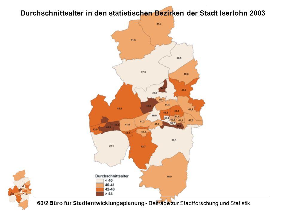 Durchschnittsalter in den statistischen Bezirken der Stadt Iserlohn 2003