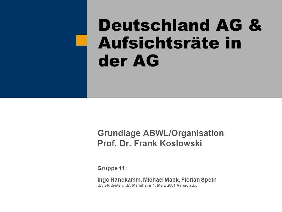 Deutschland AG & Aufsichtsräte in der AG