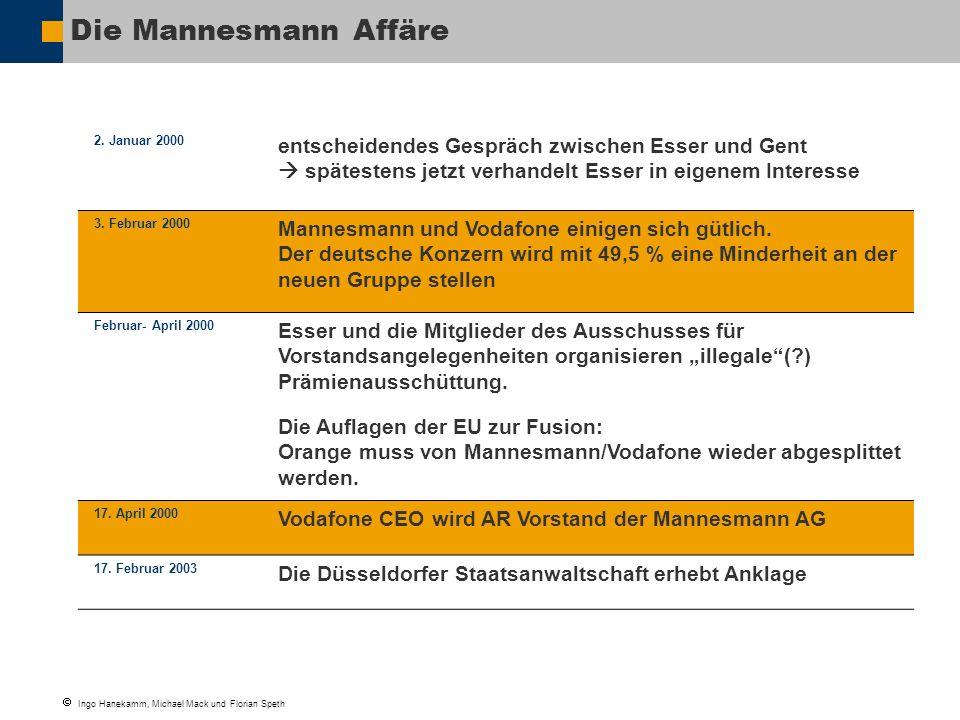 Die Mannesmann Affäre 2. Januar 2000. entscheidendes Gespräch zwischen Esser und Gent  spätestens jetzt verhandelt Esser in eigenem Interesse.