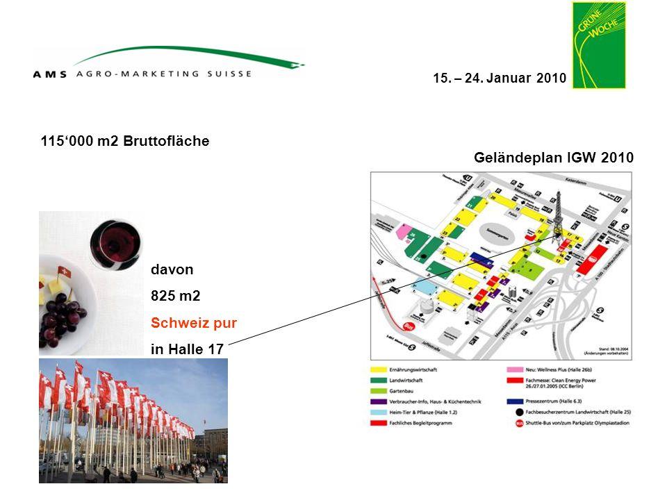 115'000 m2 Bruttofläche Geländeplan IGW 2010 davon 825 m2 Schweiz pur in Halle 17