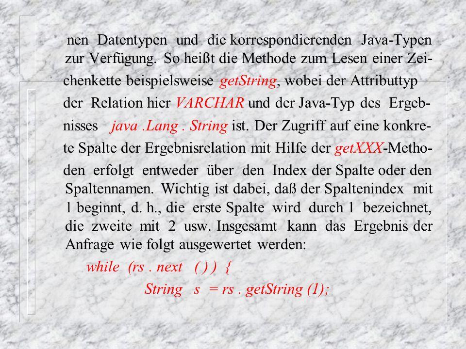 nen Datentypen und die korrespondierenden Java-Typen zur Verfügung
