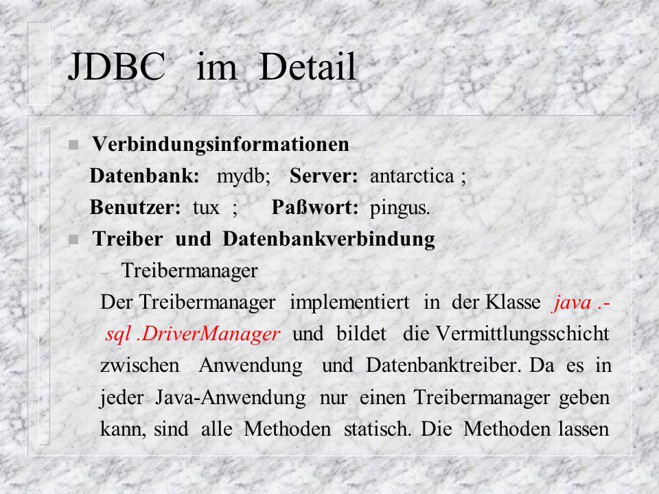 JDBC im Detail Verbindungsinformationen