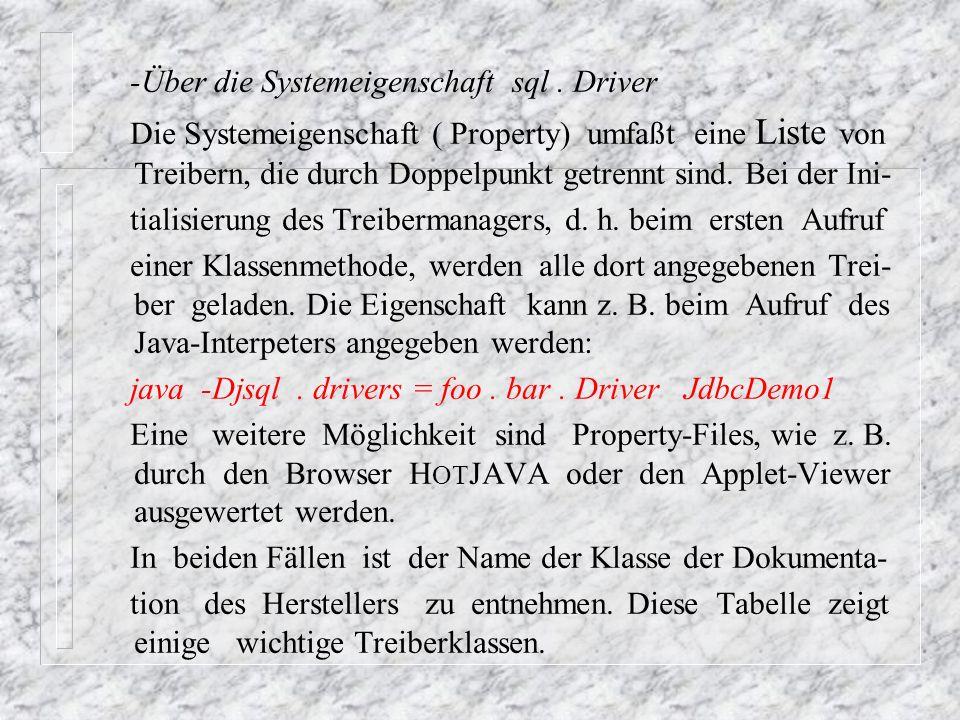 -Über die Systemeigenschaft sql . Driver