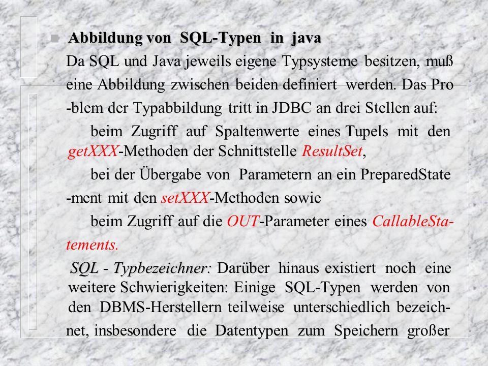 Abbildung von SQL-Typen in java