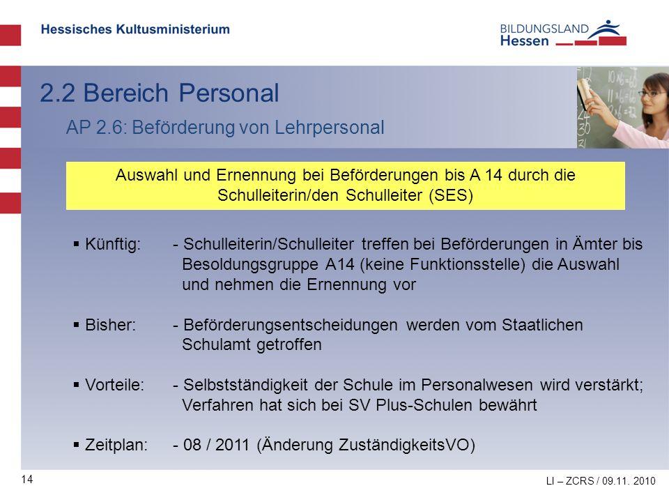 2.2 Bereich Personal AP 2.6: Beförderung von Lehrpersonal