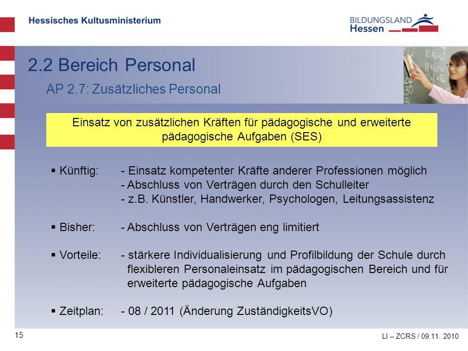 2.2 Bereich Personal AP 2.7: Zusätzliches Personal