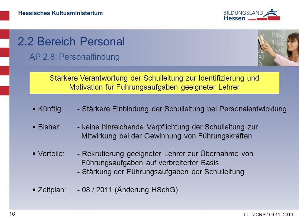 2.2 Bereich Personal AP 2.8: Personalfindung